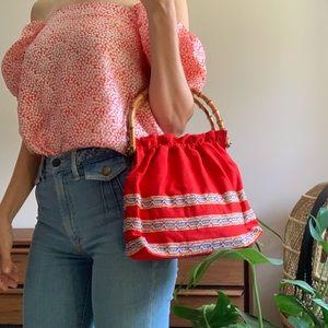 Wood Handle Vintage Boho Purse/Bag